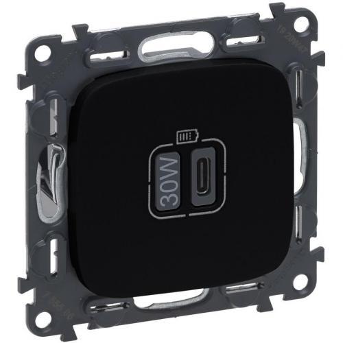 LEGRAND - Розетка USB за зареждане тип C Power Delivery 30W цвят Черно Valena Allure (комплект с механизъм) Legrand 755509
