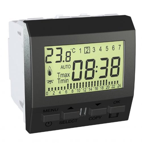 SCHNEIDER ELECTRIC - MGU3.505.12 Програмируем седмичен термостат 8A активен/5А индуктивен Unica Top графит
