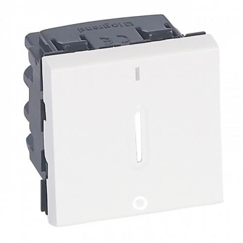 LEGRAND - Ключ за бойлер с LED индикация 20A (двуполюсен) 2 модула Mosaic бял 77052