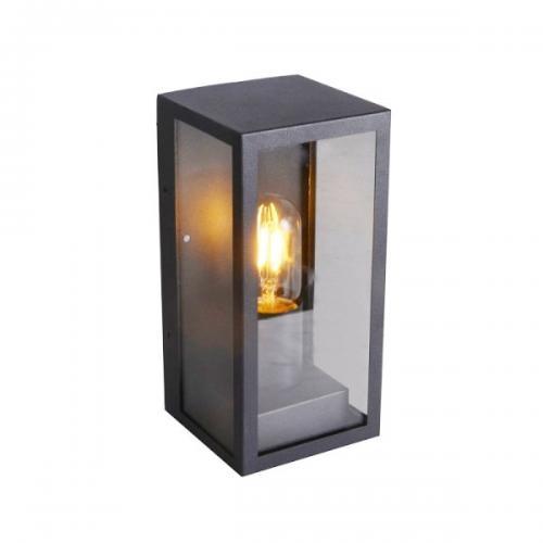 V-TAC -  Градински Стенна Лампа 1*27 Черна Прозрачна SKU: 8517 VT-837