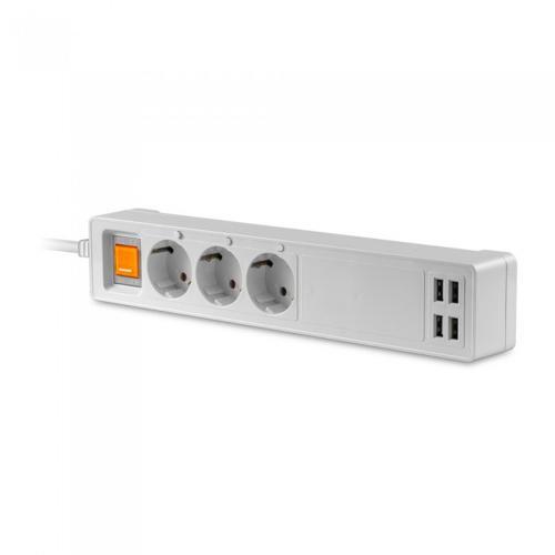 V-TAC - WIFI SMART Троен Разклонител + 4USB EU съвместим с Amazon Alexa & Google Home SKU: 8447 VT-5018