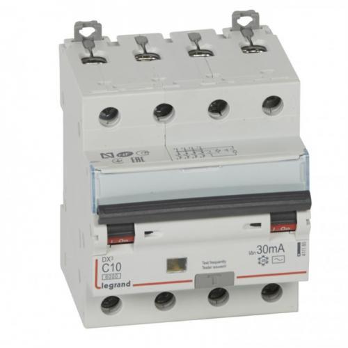 LEGRAND - ДТЗ 3P+N комбинирана АC 10A 30mA 6kA крива С серия DX3 4 модула 411185