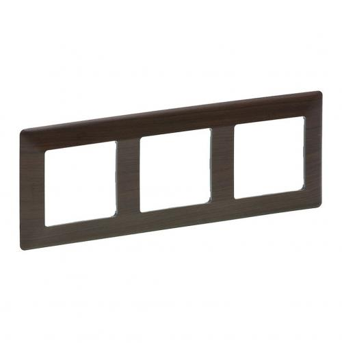 LEGRAND - 7 541 73 Plate Valena Life - 3 gang - dark wood