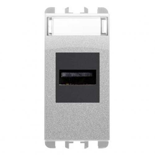 SIMON URMET - 10451.AL USB socket connector, 1 mod. aluminium