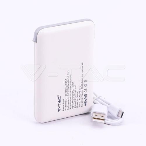 V-TAC - 5000 mAh Външна Батерия Дисплей Бяла SKU: 8864 VT-3510