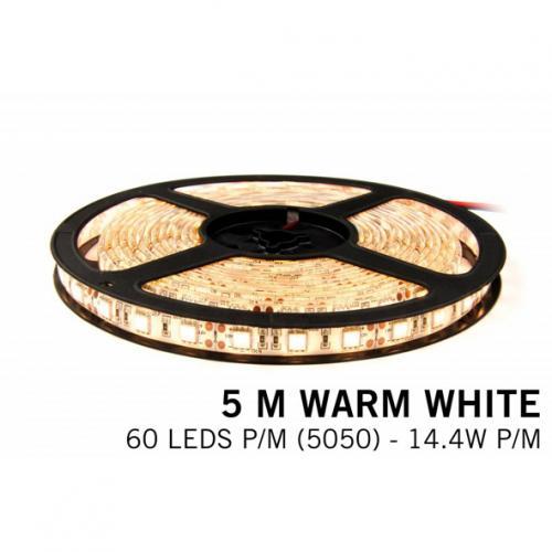 ULTRALUX - LSNW505060WW LED ЛЕНТА SMD5050, 14.4W/M ТОПЛО БЯЛА, 12V DC, 60 LEDS/M, 5M, НЕВОДОУСТОЙЧИВА