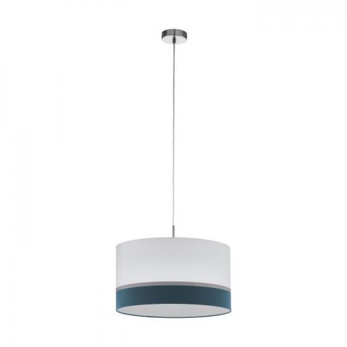 EGLO - Пендел ПЕ 1хE27 Ø450 никел/бяло-синьо-сребърно 'SPALTINI 39554