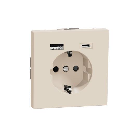 SCHNEIDER ELECTRIC - MTN2367-6033 Механизъм контакт шуко 16A + USB A+C 3A 15W с лицев панел сахара System Design