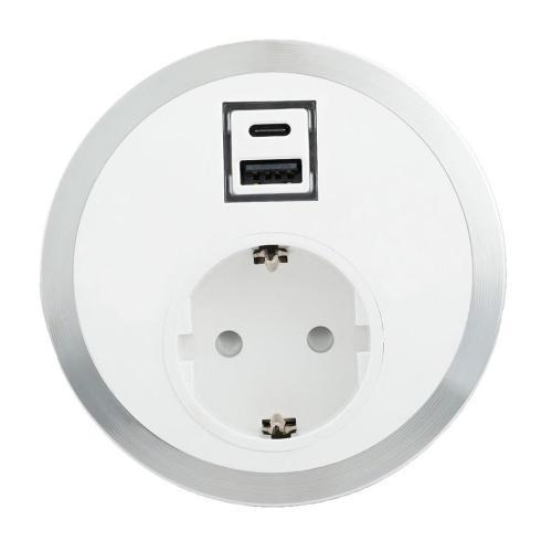 ABL - Модул Port El с хромиран ринг с 1х контакт Шуко стандарт и USB Smart charger тип А+C /1F/SC A+C/ цвят Бял