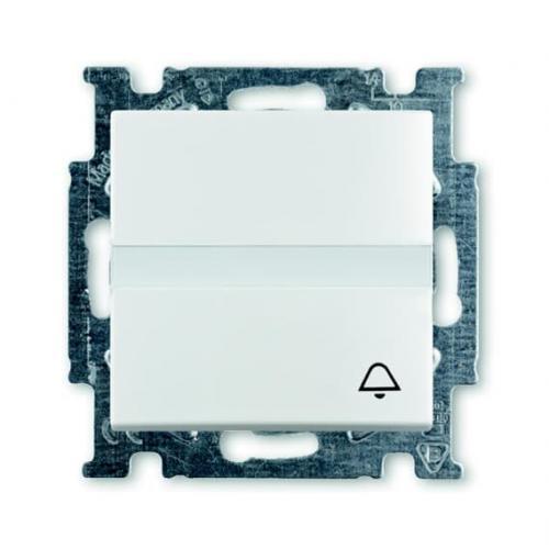 ABB - Бутон цвят със символ звънец и място за етикет ABB Basic55 Бяло 2CKA001413A1086