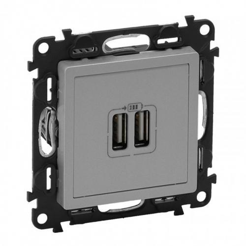 LEGRAND - Двоен USB контакт 1500мА за зареждане 5V, Valena Life 753312 алуминий