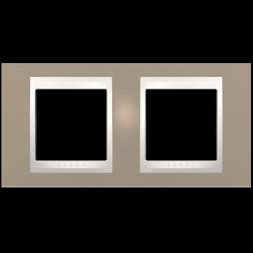 SCHNEIDER ELECTRIC - MGU6.004.574 рамка Unica Plus двойна млечно кафяв/слонова кост