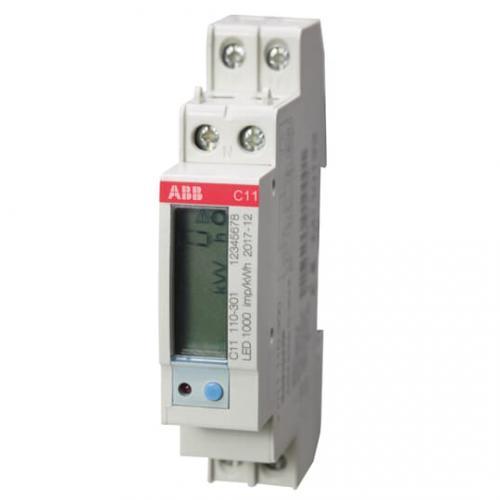 ABB - Монофазен мерител за ДИРЕКТНО мерене на ел. енергия C11, импулсен изход, за DIN монтаж 1мод 40A 2CMA103572R1000