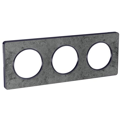 SCHNEIDER ELECTRIC - S540806U Odace Touch aluminium декоративна рамка тройна морски камък с външен кант в цвят антрацит