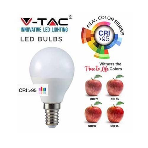 V-TAC - LED Крушка 5.5W E14 P45 4000K CRI 95+ SKU: 7489 VT-2236, 2700К-7488, 6400К-7490