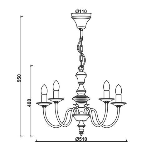 ACA LIGHTING - Полилей    ELEGANT  DL9315PAG