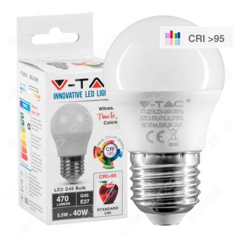V-TAC - LED Крушка 5.5W E27 G45 4000K CRI 95+ SKU: 7492 VT-2216, 2700К-7491, 6400К-7493