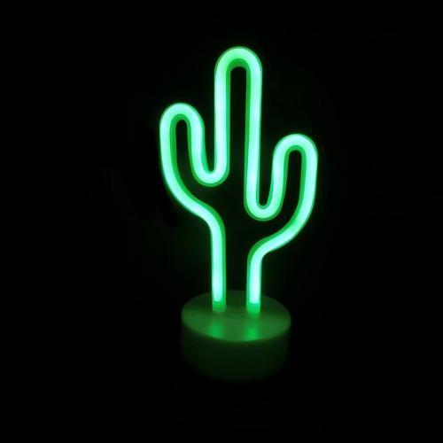 ACA LIGHTING - FCACTUSNEON2A  LED ДЕКОРАТИВНА ЛАМПА  5.4W, с USB, батерии, зелена светлина, вътрешно приложение IP20