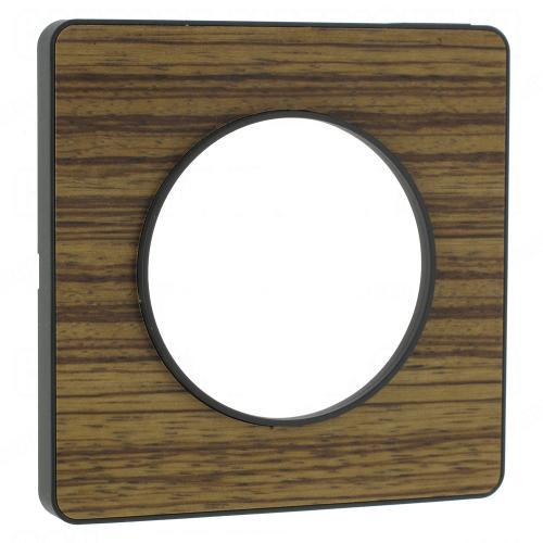 SCHNEIDER ELECTRIC - S540802P4 Odace Touch aluminium декоративна рамка единична дърво зебрано с външен кант в цвят антрацит