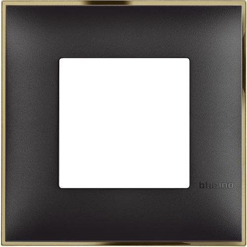 BTICINO - R4802BD Рамка 2М немски стандарт черно със златно Classia