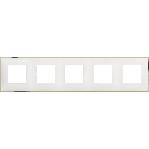 BTICINO - R4802M5WD cover plate - 2+2+2+2+2 horizontal/vertical installation modules - White gold