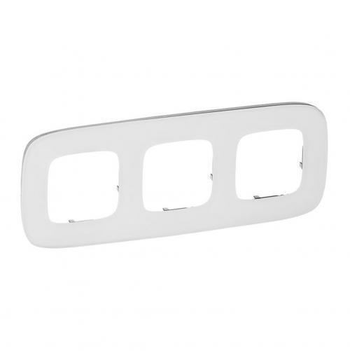 LEGRAND - Тройна рамка ALLURE 755543 бяло стъкло