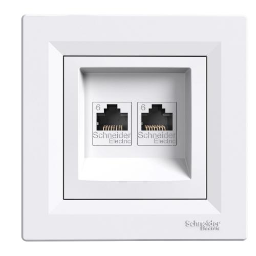 SCHNEIDER ELECTRIC - EPH4800121 компютърна розетка 2xRJ45 сat6 UTP Asfora бяла