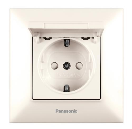 PANASONIC - Контакт шуко с капак и детска защита Panasonic Arkedia Slim крем WNTC0210-2BG