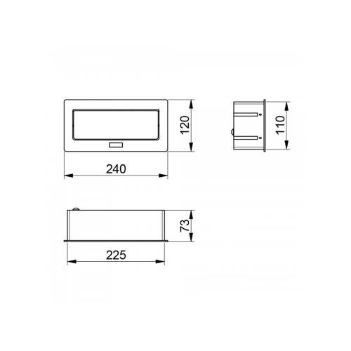 GTV Lighting - Контакт за вграждане в мебел метал черен AE-PBSC3GS-20N контакт тип шуко 3бр.