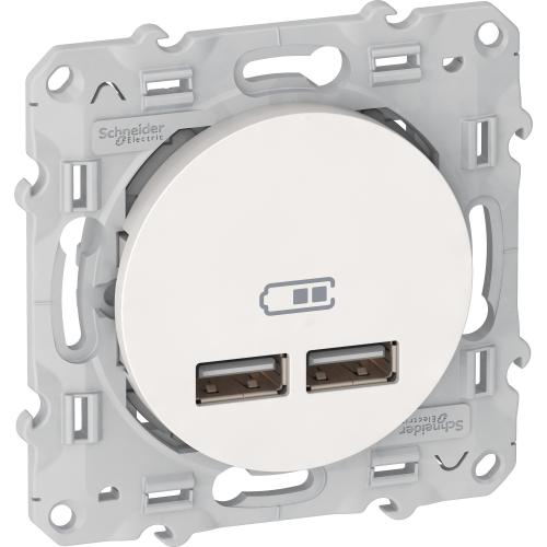 SCHNEIDER ELECTRIC - S520407 USB двойно зарядно устройство Odace бял
