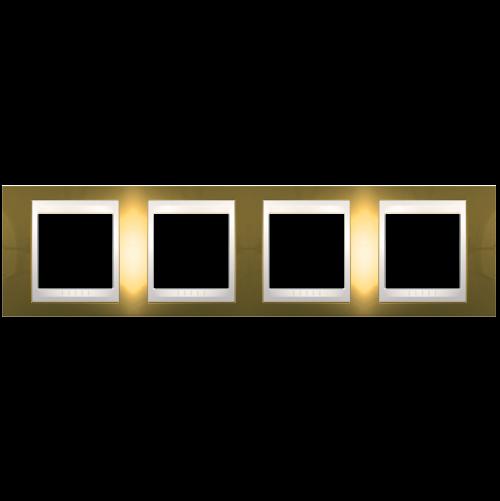 SCHNEIDER ELECTRIC - MGU66.008.504 рамка Unica Plus четворна злато/слонова кост