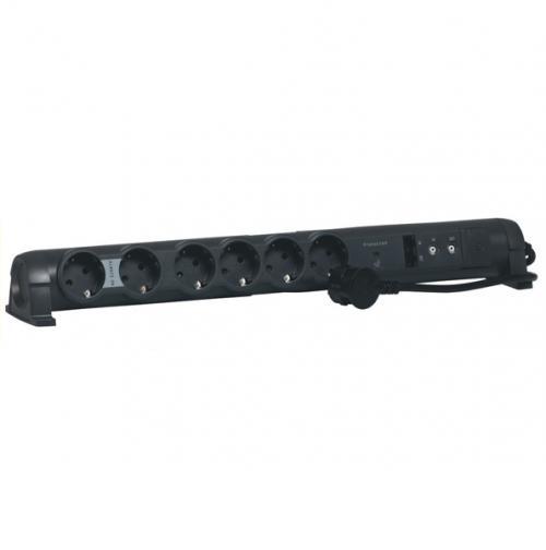LEGRAND - 694666 Разклонител 6х2Р+Е, RJ45x2, TVx2 с кабел 1,5м с гръмозащита черен
