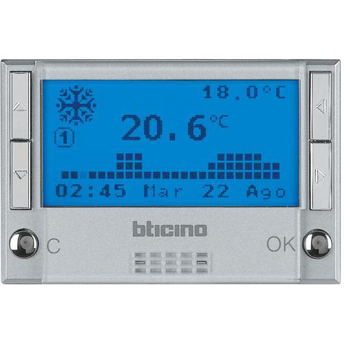 BTICINO - HC4451 Термостат с LCD дисплей 3 мод. с таймер за отопление и охлаждане Axolute алуминий