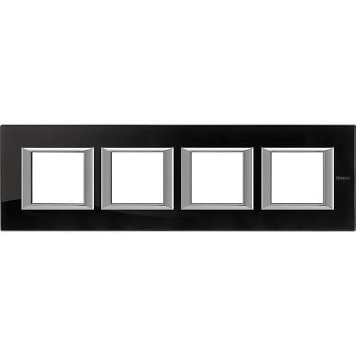 BTICINO - HA4802M4HVNB Четворна рамка 4х2М Nighter стъкло правоъгълна Axolute