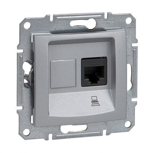 SCHNEIDER ELECTRIC - SDN4700160 Информационна розетка RJ45 кат.6 UTP Sedna, 16А, алуминий