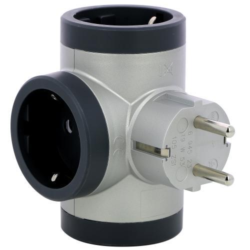 LEGRAND - 694523 Адаптер за контакт 3х Шуко Т-образен алуминий Legrand