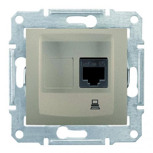 SCHNEIDER ELECTRIC - SDN4300168 Информационна розетка RJ45 кат.5е UTP Sedna, 16А, титаний