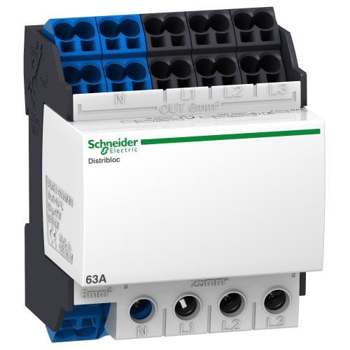 SCHNEIDER ELECTRIC - Клемен блок Distriblock 4P 80A вход 25мм2 отдолу 4 мод. 04041