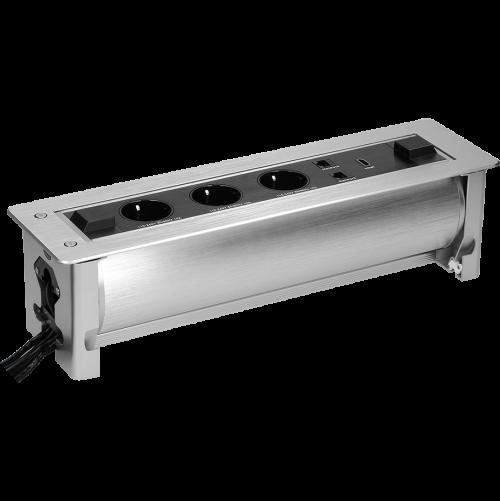 ORNO - Мебелна кутия с моторизирано управление, с контакти 3х шуко, 1х HDMI, 2х RJ45 кабели 1.5m, цвят ИНОКС OR-AE-13110(GS)