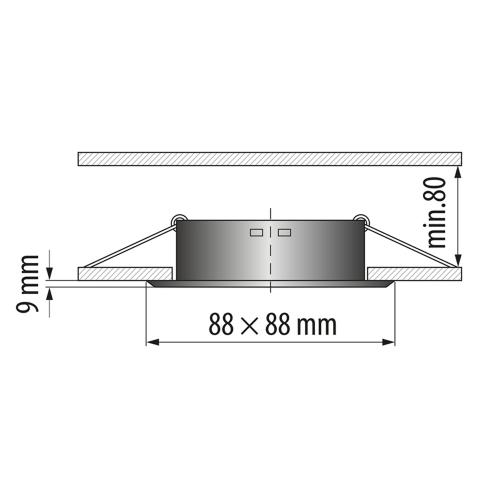 ULTRALUX - LVSSMR16AB Луна за вграждане, квадрат, стационарна, сатиниран месинг, невлагозащитена