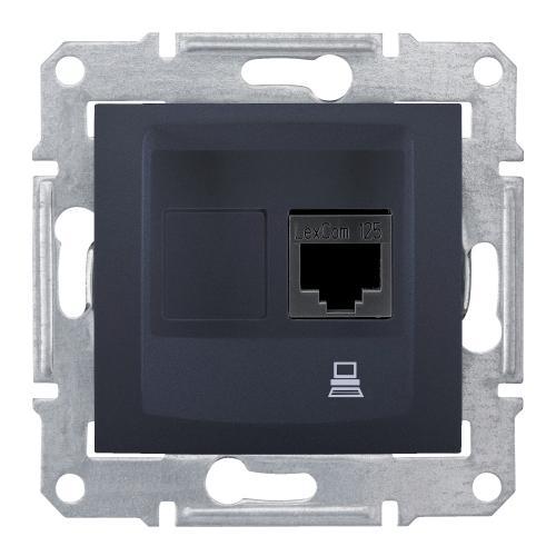 SCHNEIDER ELECTRIC - SDN4700170 Информационна розетка RJ45 кат.6 UTP Sedna, 16А, графит