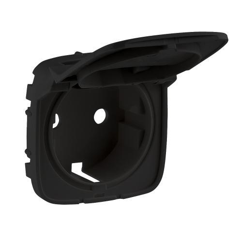 LEGRAND - Лицев панел за контакт с капак шуко с детска защита цвят Черно  Valena Allure 754848