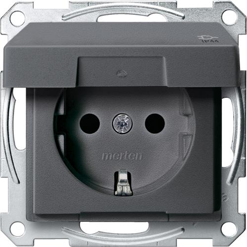 SCHNEIDER ELECTRIC - MTN2414-0414 Механизъм контакт шуко с лицев панел антрацит IP44 System M