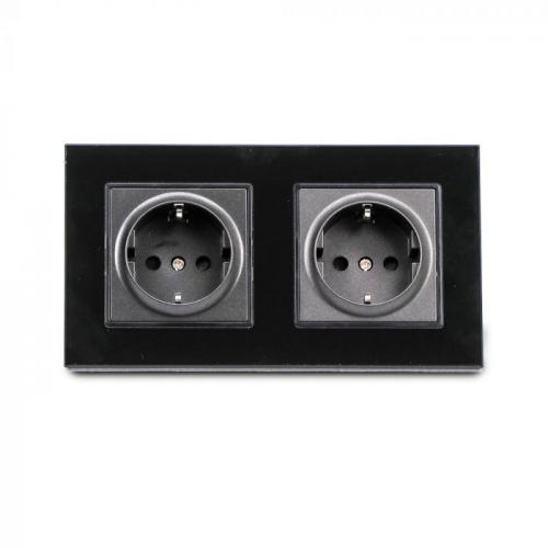 V-TAC - Двоен модулен контакт черно стъкло 16A SKU 8401 VT-5811