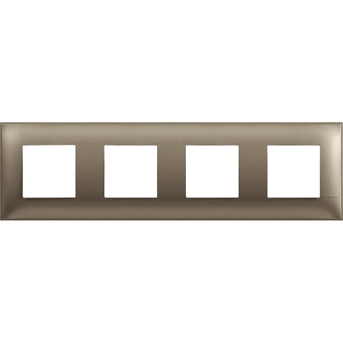 BTICINO - R4802M4TM cover plate - 2+2+2+2 horizontal/vertical installation modules - Titanium metal