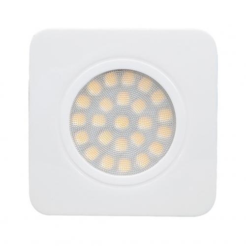 ULTRALUX - LMLS12342W Мебелна светодиодна луна за вграждане, квадрат, 3W, 4200K, 12V DC, неутрална светлина, IP44, бяла