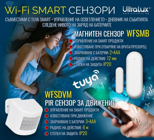 ULTRALUX - WFSMB Wi-Fi SMART сензор за врати и прозорци