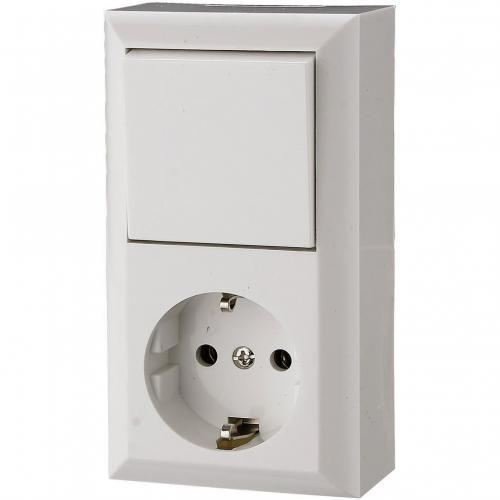 GAO - Блок контакт шуко 16A и девиаторен ключ бял открит монтаж IP20 GA0 0314H