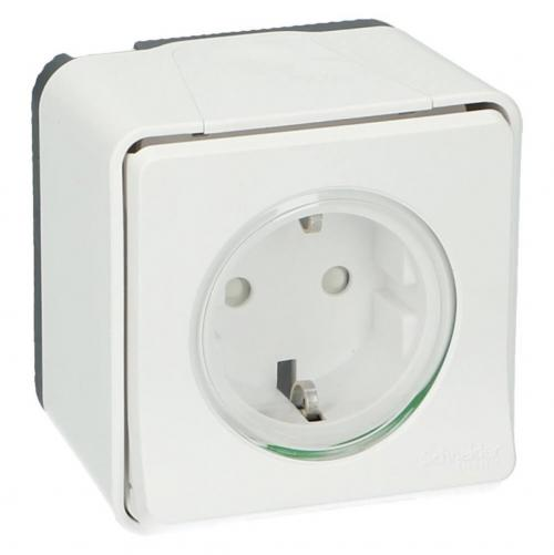 SCHNEIDER ELECTRIC - MUR39034 Mureva Styl - power socket-outlet with sideE - 16A 250V - 2P + E with shutters - white