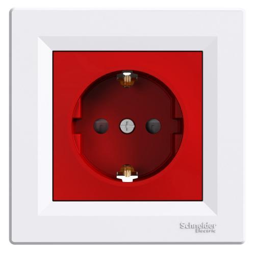SCHNEIDER ELECTRIC - EPH2900521 Контакт с детска защита 16А, бял червен